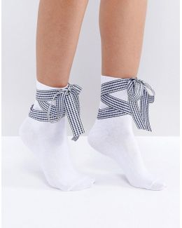 Gingham Bow Strap Ankle Socks
