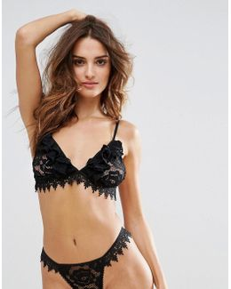 Black Lace Floral Triangle Bra