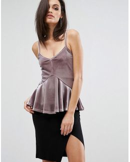 Cami Strap Top With Soft Peplum