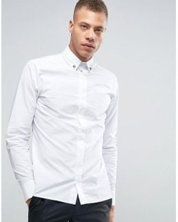 Shirt With Skull Collar Tips In Slim Fit