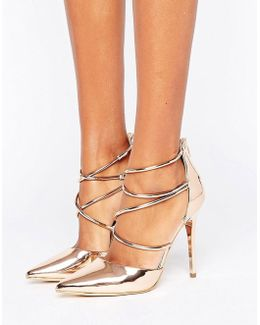 Spears Rose Gold Cross Strap Heeled Shoes