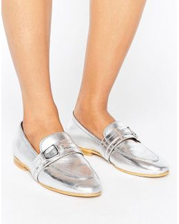 Leer Silver Leather Loafers