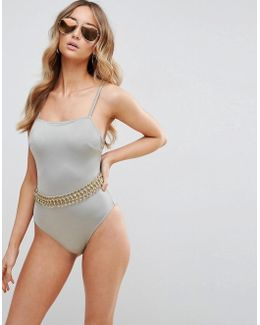 Gold Chain Trim Embellished Square Neck Swimsuit