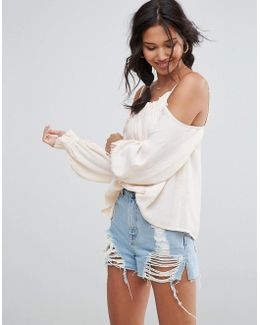 Cold Shoulder Top With Low Back & Ruffle Edge