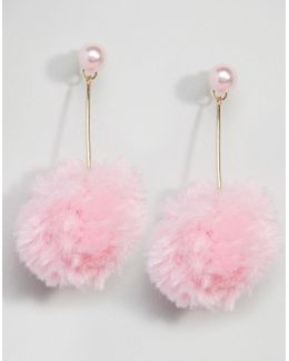 Faux Pearl Pink Pom Strand Earrings
