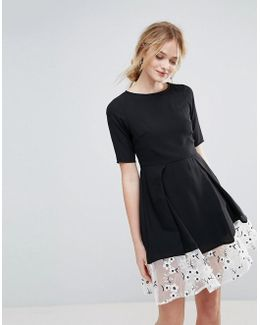 Drop Hem Dress With Floral Embroidered Panel