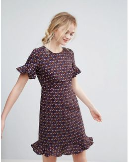 Printed Dress With Flute Sleeve And Frill Hem