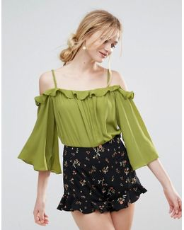 Bardot Top With Frill Detail