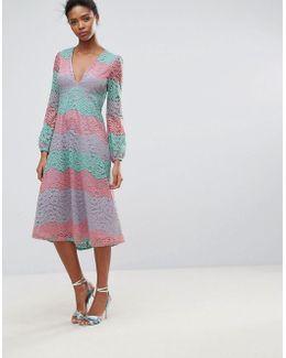 Long Sleeve High Neck Lace Maxi Dress