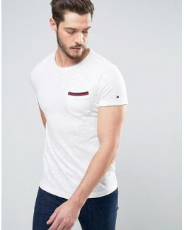 Falco Slub T-shirt Tipped Pocket In Regular Fit