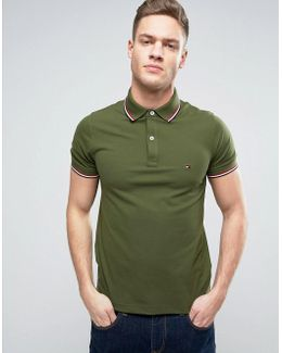 Tipped Pique Polo Slim Fit In Green