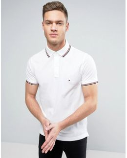 Tipped Pique Polo Slim Fit In White