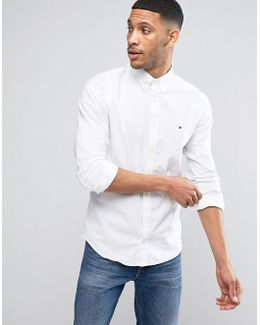Stretch Oxford Shirt Slim Fit Buttondown In White