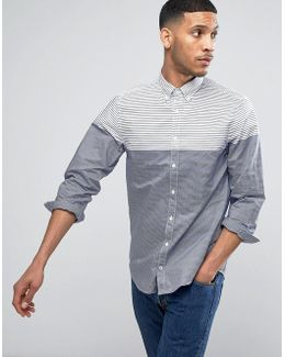 Varied Stripe Shirt Buttondown Regular Fit In White/navy