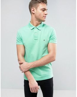 Logo Pique Polo Slim Fit In Green