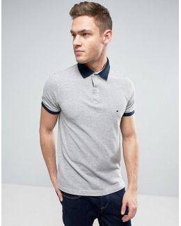 Contrast Cuff Polo Logo Collar Reverse Slim Fit In Gray Marl