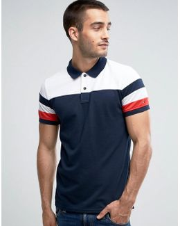 Pique Polo Engineered Stripe Slim Fit In Navy