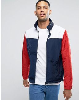 Color Block Nylon Jacket With Concealed Hood