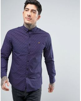 Slim Fit Paisley Shirt In Navy