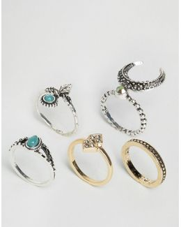 Pack Of 5 Crescent Moon Ring Pack