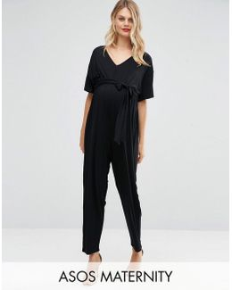 Tall Belted Jumpsuit With Kimono Sleeve