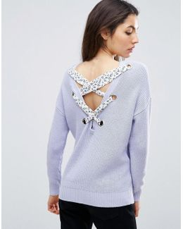 Sweater With Floral Lace Back Detail