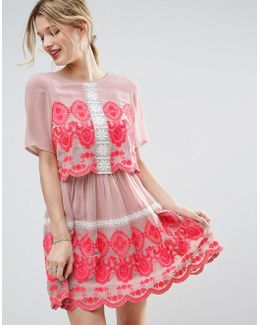 Premium Double Layer Mini Embroidered Dress