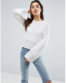Sweater In Crochet Mix Stitch With Wide Sleeve