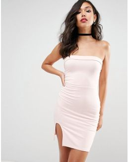Strapless Mini Bodycon Dress With Curved Splits