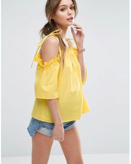 Cold Shoulder Top In Cotton With Tie Shoulder