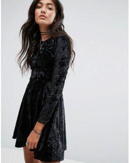 Crushed Velvet Skater Dress