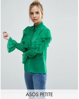 Deconstructed Ruffle Cold Shoulder Blouse With Tie Detail