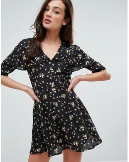 Plunge Front Dress In Ditsy Floral