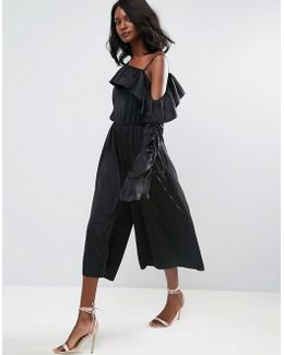 Jumpsuit With One Shoulder And Ruched Sleeve