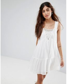 Lace Detail Tiered Smock Dress