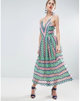 Salon Lace Placed Multi Strap Back Midi Prom Dress