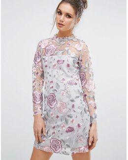 Premium Embroidered Mesh Mini Dress