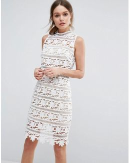 Premium Cutwork Lace High Neck Dress