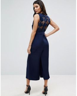 Jumpsuit With Lace Back And Culotte Leg