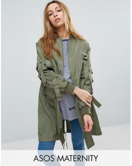 Longline Parka With Parachute Strapping