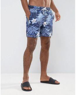 Tonal Floral Swim Shorts In Blue