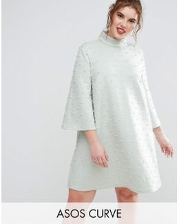 Pearl Shift Mini Dress With Fluted Sleeve