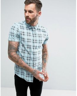 Regular Fit Printed Check Shirt In Green