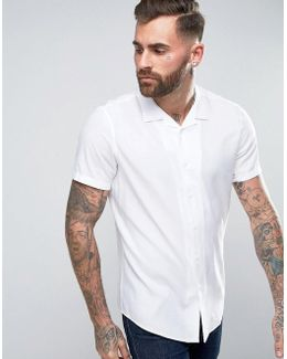 Oversized Shirt In White With Revere Collar