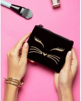 Cat Velvet Zip Top Purse