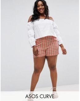 High Waist Checked Shorts