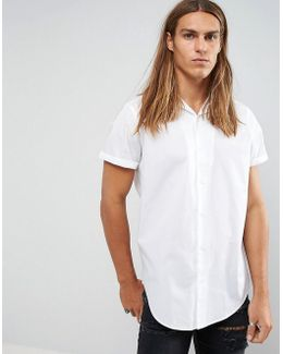 Longline Shirt In White With Revere Collar