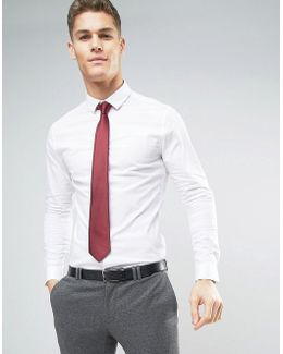 Skinny Shirt In White With Burgundy Tie Save
