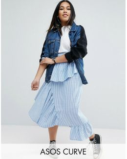Stripe Deconstructed Midi Skirt