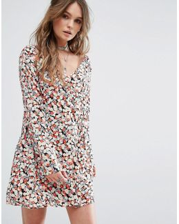 Festival Button Front Dress In Floral Print